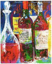 Original Vintage LEROY NEIMAN PRINT Book Plate 9x12 - 3 Wine Bottles