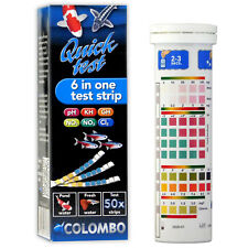 Colombo Quicktest 6-in-1 Pond Test Strips x50 Kit Freshwater Aquarium Fish Tank