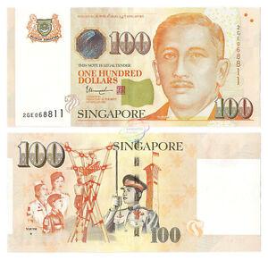SINGAPORE 100 Dollars w/1 Diamond 2015 / 2016 P-50 UNC Uncirculated