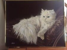"ORIGINAL VINTAGE THE RESTING CAT OIL PAINTING SIGNED BY LETTERMAN 48"" x 60"""