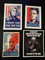 Anti Deep State Pro Liberty TRUMP Bumper Sticker lot Of 4 Assange Thomas...