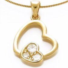Pendentif Plaqué Or - Double Coeur - avec oxydes blancs