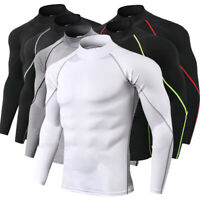 Mens Activewear Tops Fitness Tee Base Layers Long Sleeve Gym Compression Thermal