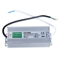 AC 100-240V DC12V Waterproof IP67 LED Driver Power Supply Transformer 100W US