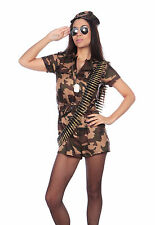 Adult Army Soldier Costume Womens Camo Uniform Fancy Dress