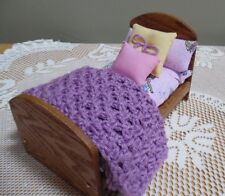 OAK BED & Bedding  made for American Girl Mini Doll &  5-8 Inch Dolls #29