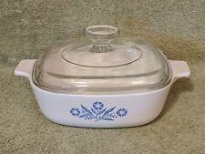 Vtg Corning Ware 1 Qt Casserole Dish Blue Cornflower P-1-B w/Pyrex lid 32 A7C