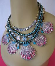 BETSEY JOHNSON OCEAN DRIVE PAVE CRYSTAL SHELL MULTI ROW STATEMENT NECKLACE~RARE