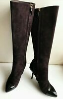 Louis Vuitton Knee-High Boots 37 (US 6,5 -7) Gold Logo, Brown, Authentic