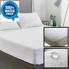 WATERPROOF TERRY MATTRESS PROTECTOR FITTED SHEET 100% COTTON DOUBLE SUPER KING