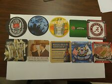 SET OF 10 DIFFERENT BEER COASTERS ALABAMA HALLOWEEN SMIRNOFF MILLER COAST GUARD