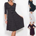 Fashion Women Maternity V-Neck Pregnancy Dot Nursing Dress Half Sleeve Plus Size