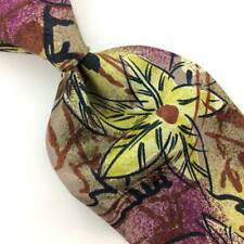 FRATELLI MADE IN ITALY FLORAL Art YELLOW VIOLET Tan Silk Necktie Mens I13-353