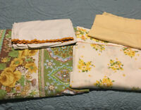 Vintage Twin linens 2 Flat Sheets 2 Pillowcases Yellow Shabby Chic Made In USA