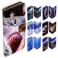 For iPhone 7 7 Plus SE 5 5s 6 6s Plus - Shark Print Flip Case Wallet Phone Cover