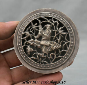 """2.8"""" Marked Old Chinese Silver Dynasty Palace Tongzi Girl ink box ink cartridge"""