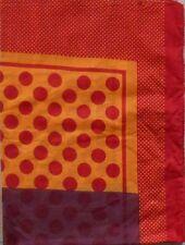 foulard en coton fond orange bordeaux à pois rouge 180 x 110 cm Neuf