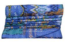 New Blue Ikat Print Kantha Stitch Gudari Indian Handmade Bedspread Quilts Throw