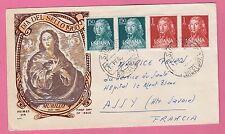 Sur Enveloppe Primer Dia Murillo cachet BARCELONA Suc. N°1 4 timbres