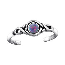 TJS 925 Sterling Silver Toe Ring Tribal Round Multi Lavender Opal Adjustable Ox