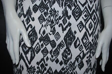 Cotton Jersey Lycra Tribal Print  Knit Fabric cute print Black and white 10 oz