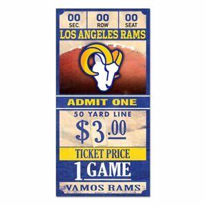 "LOS ANGELES RAMS GAME TICKET ADMIT ONE VAMOS RAMS WOOD SIGN 6""X12'' WINCRAFT"