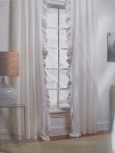 "PiuBelle Piu Belle Matelasse Shabby Gray RUFFLE Panels Curtains Drapes 52 X 96"""