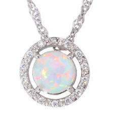 Silver White Fire Opal CZ Women Jewelry Gemstone Wedding Pendant Chain OD4653