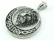 Lion Head Mens Stainless Steel Pendant Charm Men's Biker Rocker Large Polished