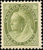 1900 Mint H Canada F-VF Scott #84 20c Queen Victoria Numeral Issue Stamp