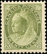1900 Mint Canada F-VF Scott #84 20c Queen Victoria Numeral Issue Stamp Hinged