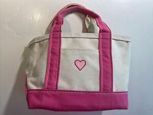 Mini Sample LL Bean Boat & Tote Canvas Bag Pink Heart
