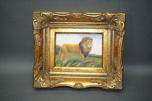 Gemälde Bild  Öl auf Leinwand  goldener Rahmen  Barockrahmen 32 cm x 26 cm Löwe