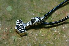 Lot Pendentif Marteau de Thors Motif Tête Loup Argent Petit + Bracelet en Cuir