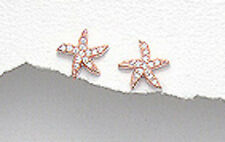 Rose Gold Over 1.4g Solid Sterling Silver Starfish CZ Stud Earrings Vermeil