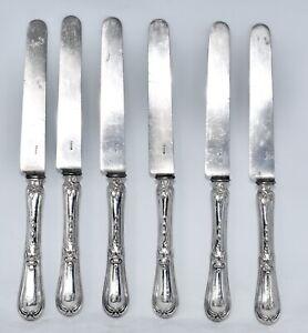 Antique Set of 6 French 950 Sterling Silver Handled Dessert Knives/Entree Knives