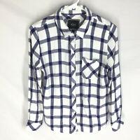 RAILS Flannel Shirt Size Small Blue WHite Plaid Long Sleeve Womens