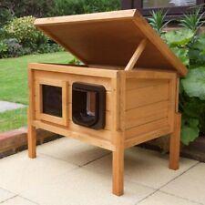 Microchip Outdoor Wood Cat House / Shelter Waterproof Garden Animal Insulated