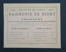 Carte d'invitation Courses de NIORT juillet 1902 concert Deux-Sèvres