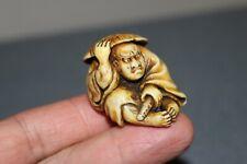 Japanese Antique Netsuke Antler Hand-Carver  of  Samurai in an ambush