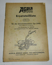 Ersatzteilliste 240/4 Agria Universalmaschine Type 2400 Schaltnaben u. a.1970