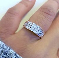 925 Silver Ladies Invisible Princess Cut Wedding Engagement Ring