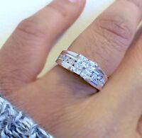 925 Silver Ladies Invisible Princess Cut Wedding Engagement Ring