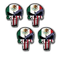 4 Pack Mexico USA Flag Punisher Skull Vinyl Decal Sticker Jeep Truck Car Bumper