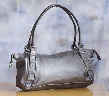 KENNETH COLE Baguette Shoulder Hand Bag Purse Satchel Silver Faux Leather