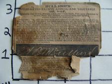 Orig Medicine label: 1800's BULLARD'S patent animal & vegetable OIL SOAP