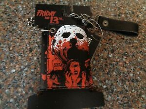 Friday The 13th Jason Lives Trifold Wallet Detachable Chain New Crystal Lake