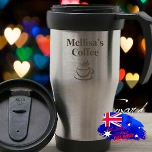 Personalised Engraved Name Initial Thermal Travel Mug Cup Flask Coffee Tea