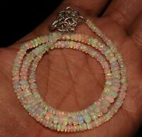 """32 Carat 16"""" 2 to 5 mm Natural Ethiopian Welo Fire Opal Bead Necklace -T1197"""