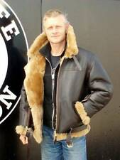 MEN'S AVIATOR RAF B3 SHEEPSKIN FUR GINGER SHEARLING LEATHER BOMBER JACKET